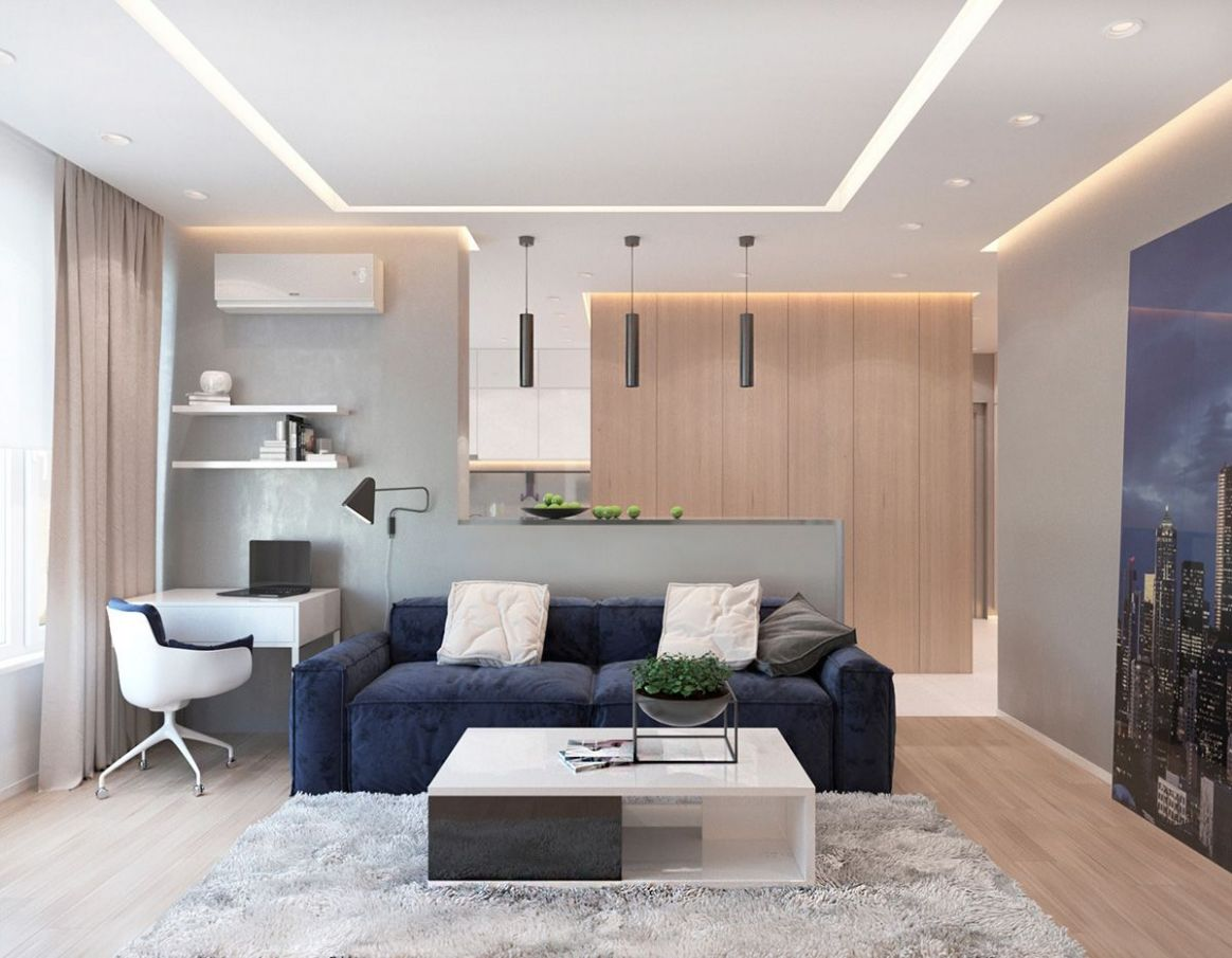Modern Apartment Concept with Modern Color Scheme and Natural Wood ..