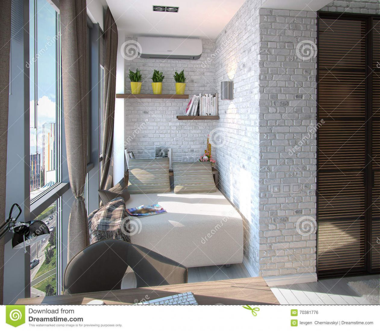 Modern Bedroom Balcony, 12d Rendering Stock Illustration ..