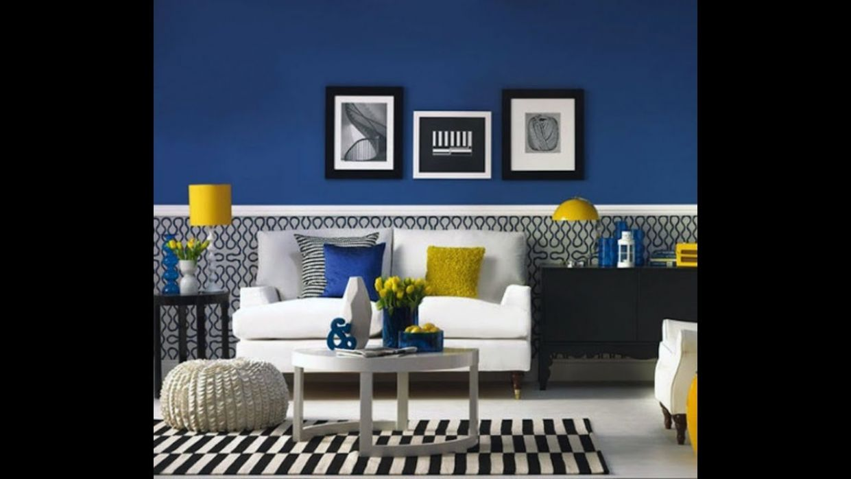 Modern blue and yellow living room - YouTube - living room ideas yellow and blue