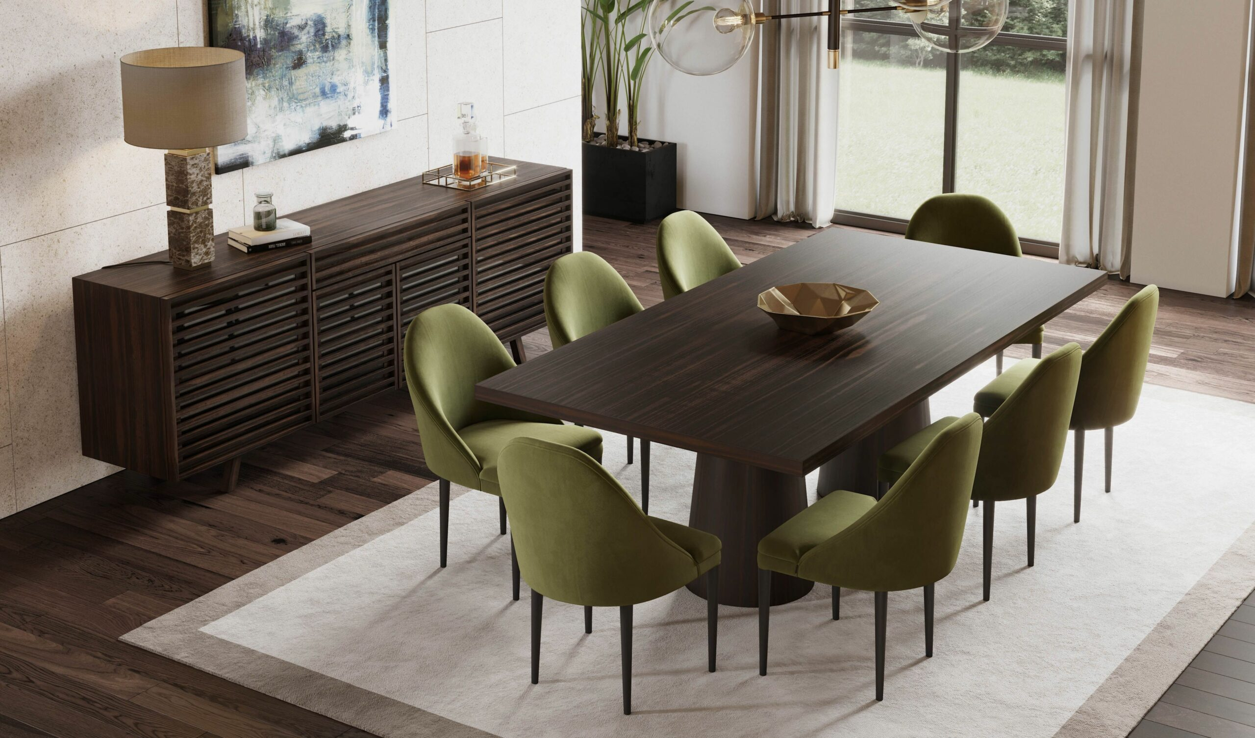 Modern dining room decor | Deep green dining chairs | dark wood ..