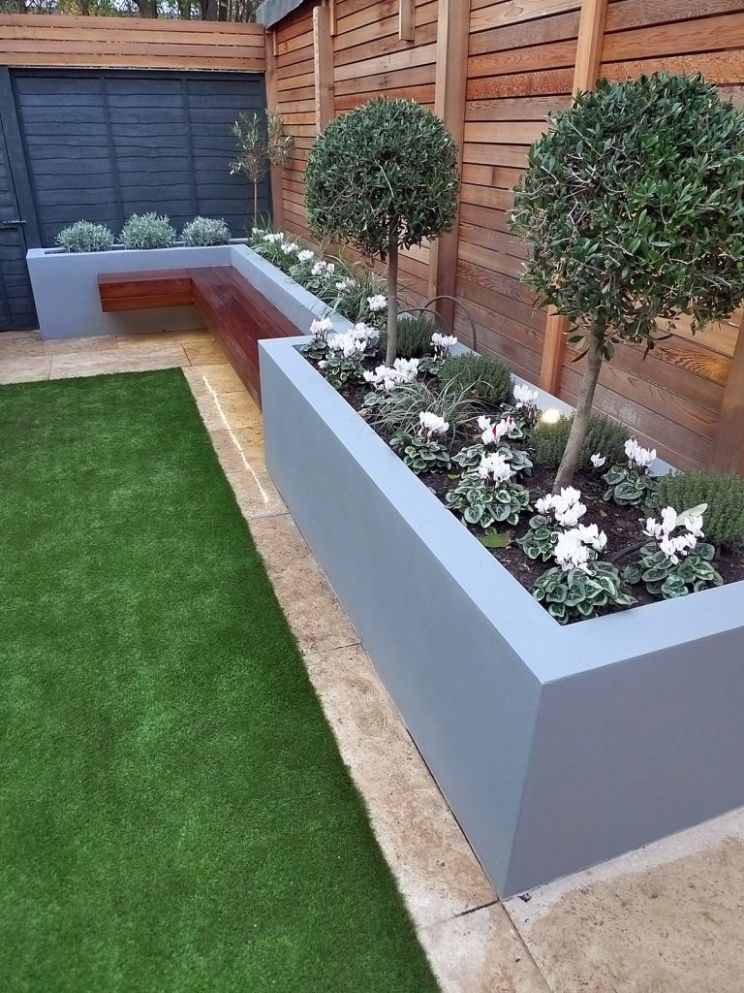 modern garden design small london cedar screen grey raised bed ..