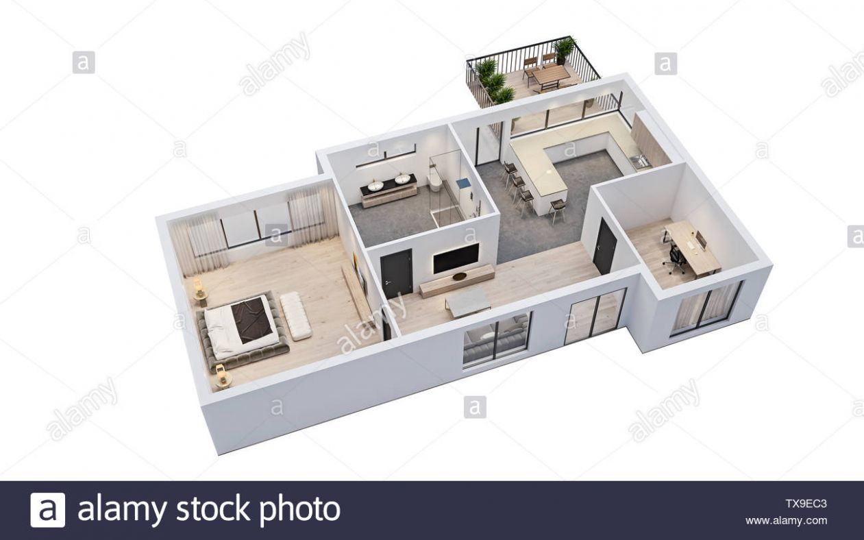 modern interior design, isolated floor plan with white walls ..