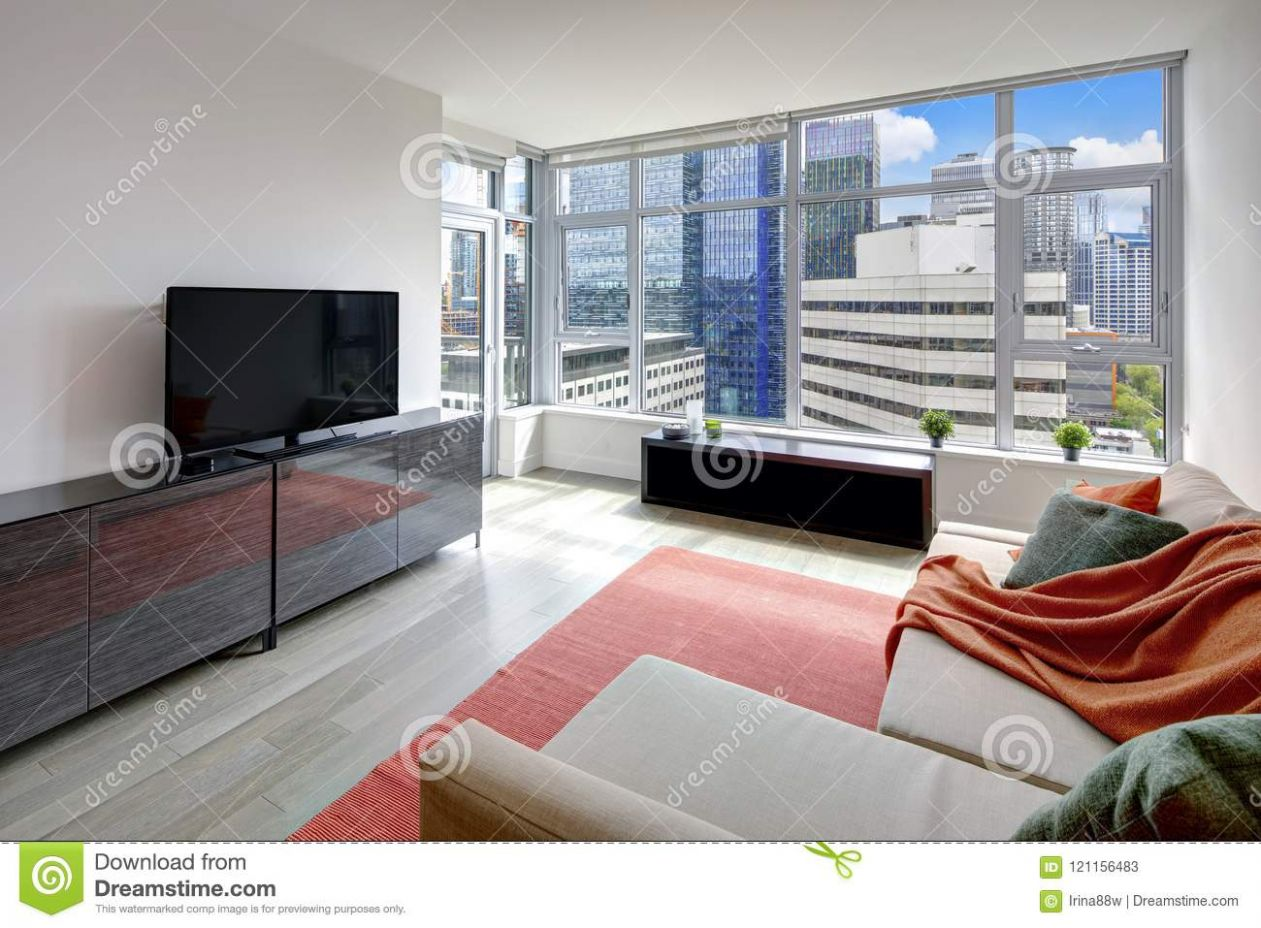 Modern Living Room Interior In Apartment Of Seattle, USA Stock ..