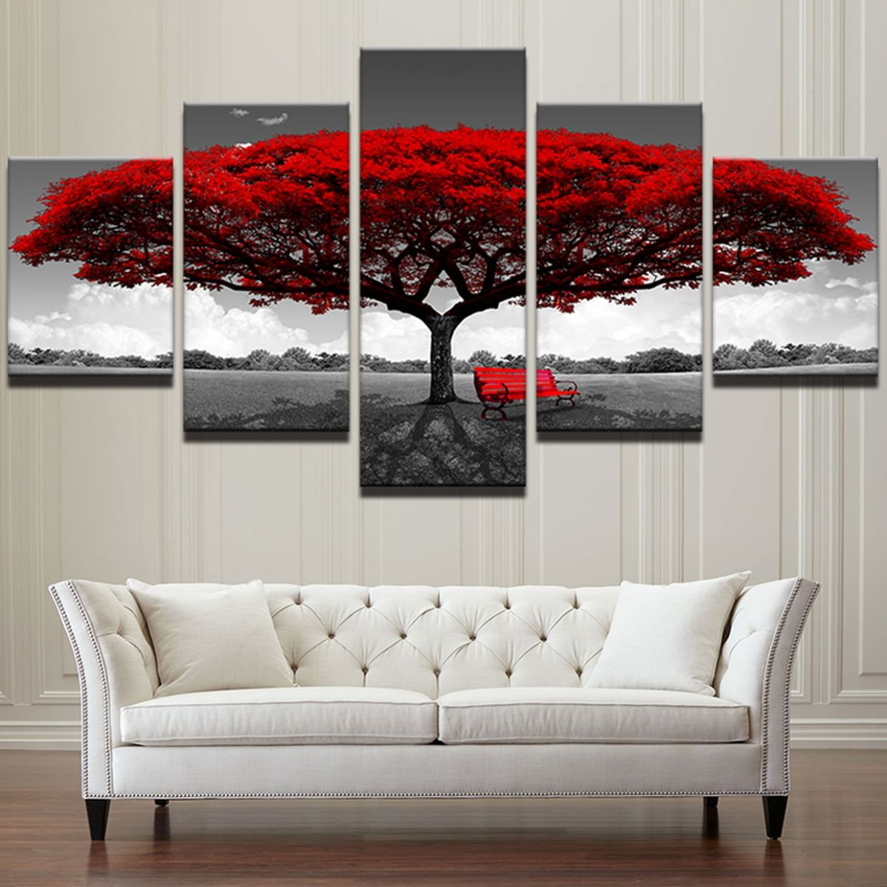 Modular Canvas HD Prints Posters Home Decor Wall Art Pictures 12 Pieces Red  Tree Art Scenery Landscape Paintings Framework PENGDA