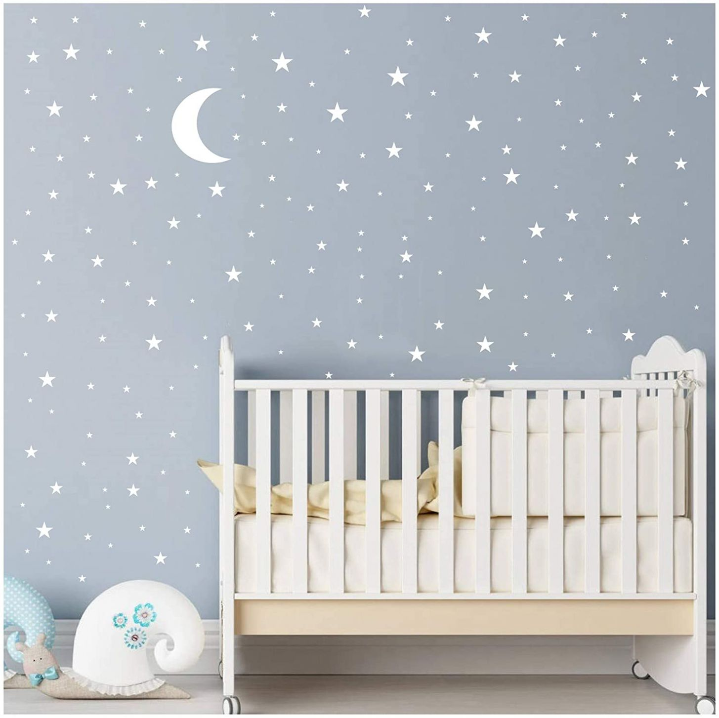 Moon and Stars Wall Decal Vinyl Sticker for Kids Boy Girls Baby Room  Decoration Good Night Nursery Wall Decor Home House Bedroom Design YMX11  (White) - baby room decoration