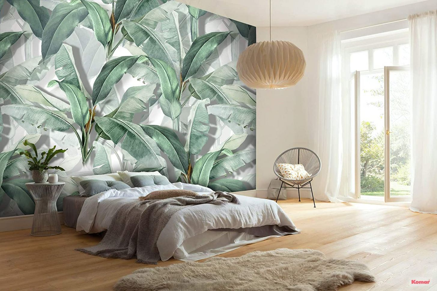 Murwall Banana Leaf Wallpaper Tropical Leaves Wall Mural Leaf Pattern Wall  Print Botanical Home Decor Living Room Bedroom Entryway - home decor wallpaper