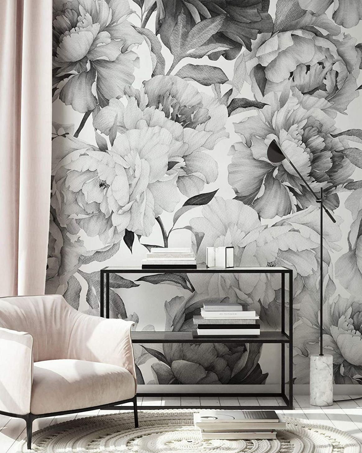 Murwall Dark Floral Wallpaper Charcoal Flower Wall Mural Monochrome Peony  Wall Print Classical Home Decor Cafe Design - home decor wallpaper