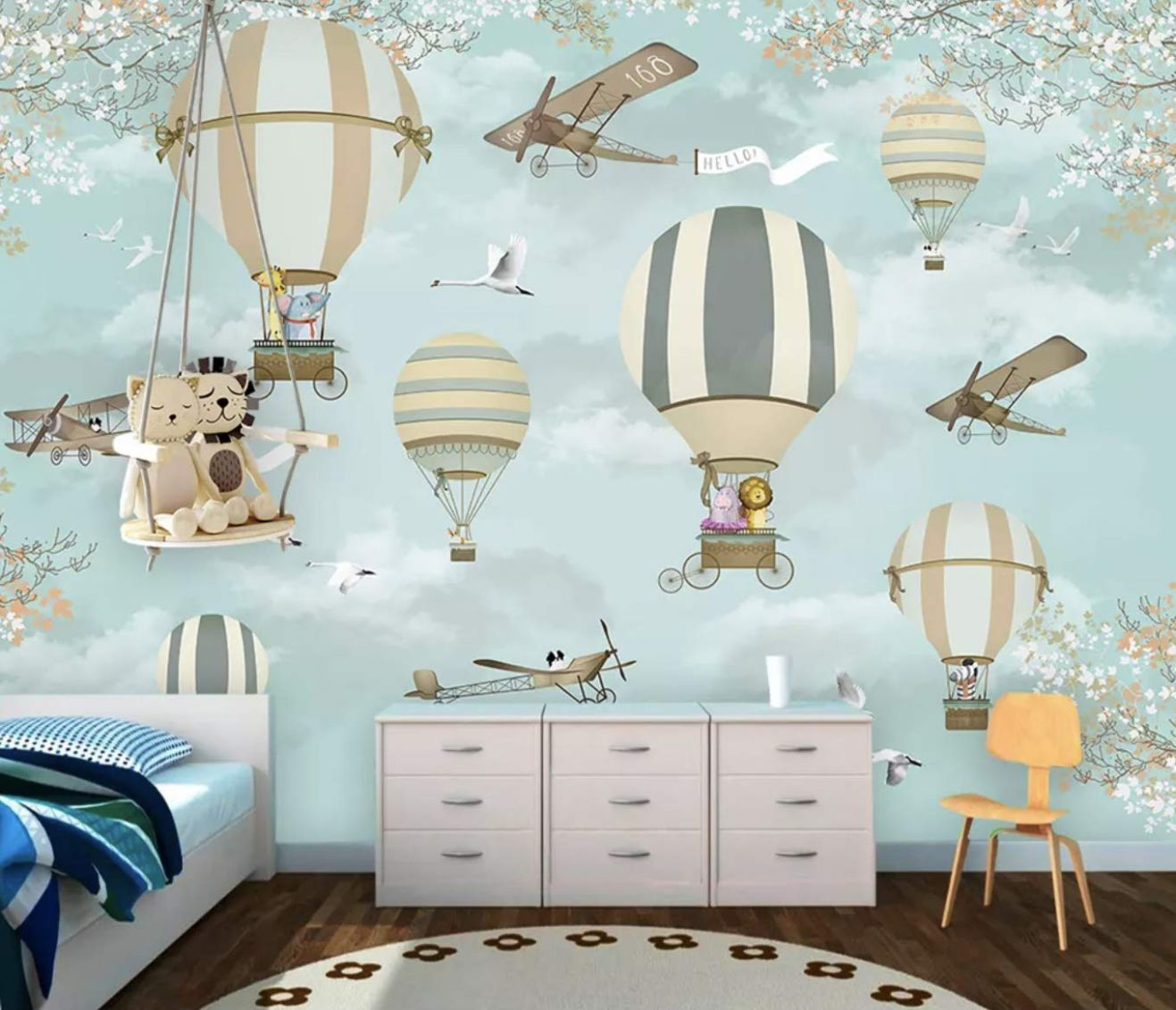 Murwall Hot Air Balloon, Animals and Aircraft Little Branch Flower Wall  Murals Baby room Textile Wallpaper for Baby Nursery - baby room murals