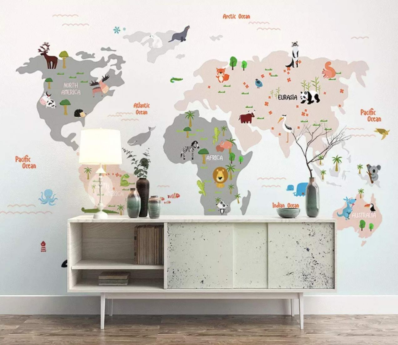 Murwall Kids Wallpaper Child World Map Wall Murals Animals Wall Decor Boys  Girls Bedroom Nursery Wall Art Baby Room Wall Painting Art - baby room murals