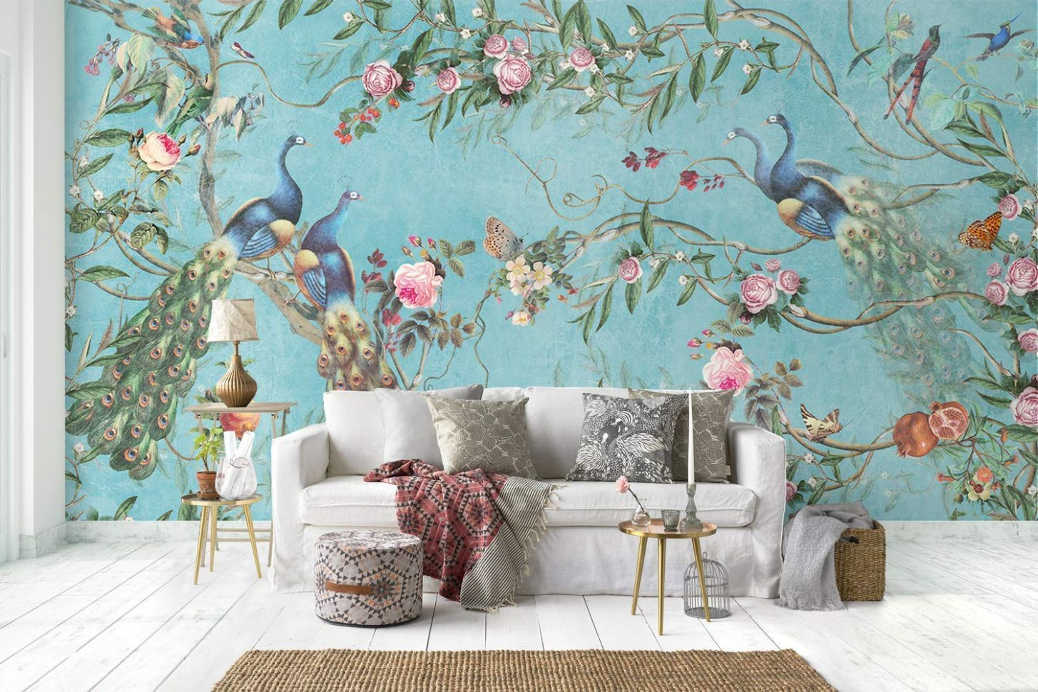 Murwall Peacock Wallpaper Peony Blossom Wall Mural Chinese Floral Wall  Print Asiatic Home Decor Cafe Design - home decor wallpaper