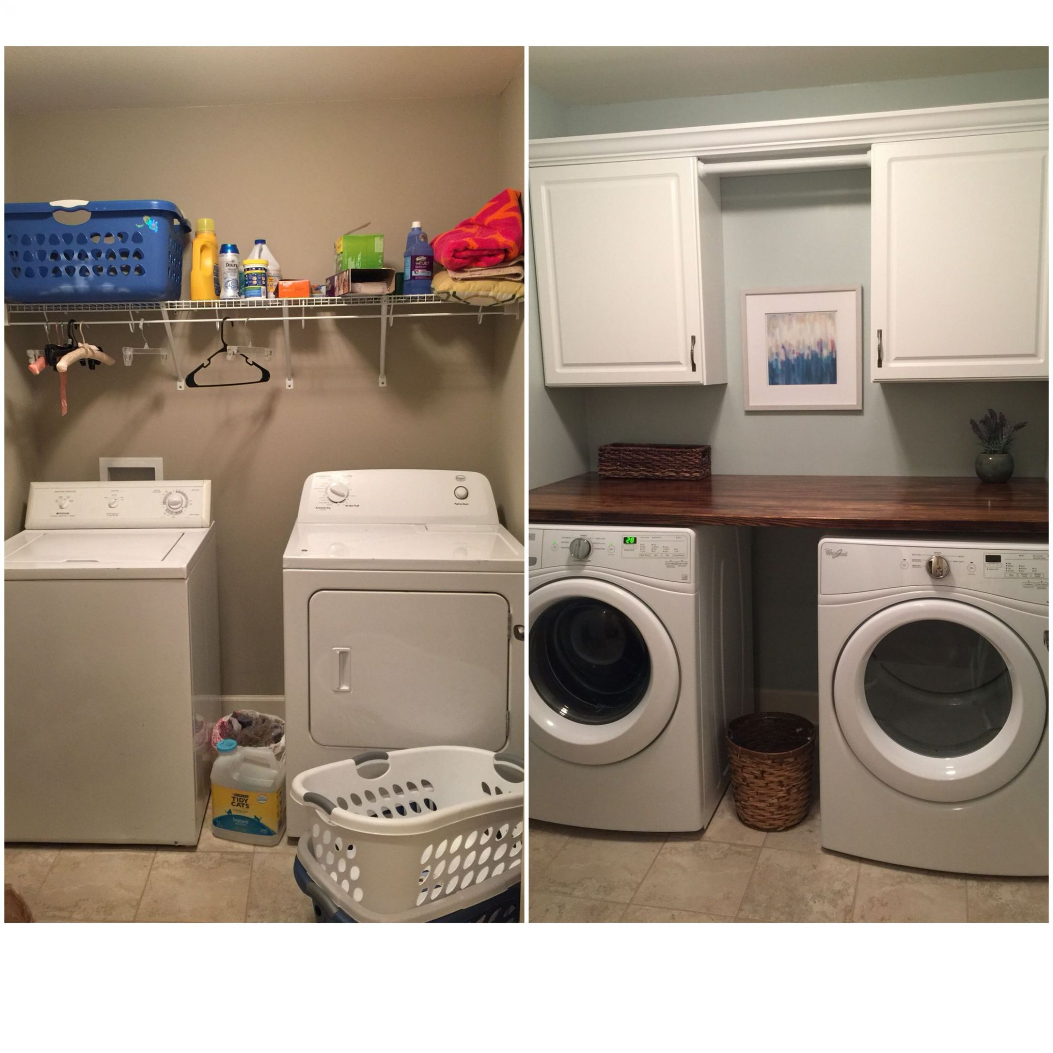 My DIY laundry room makeover. Paint color is SW Sea Salt, Cabinets ...