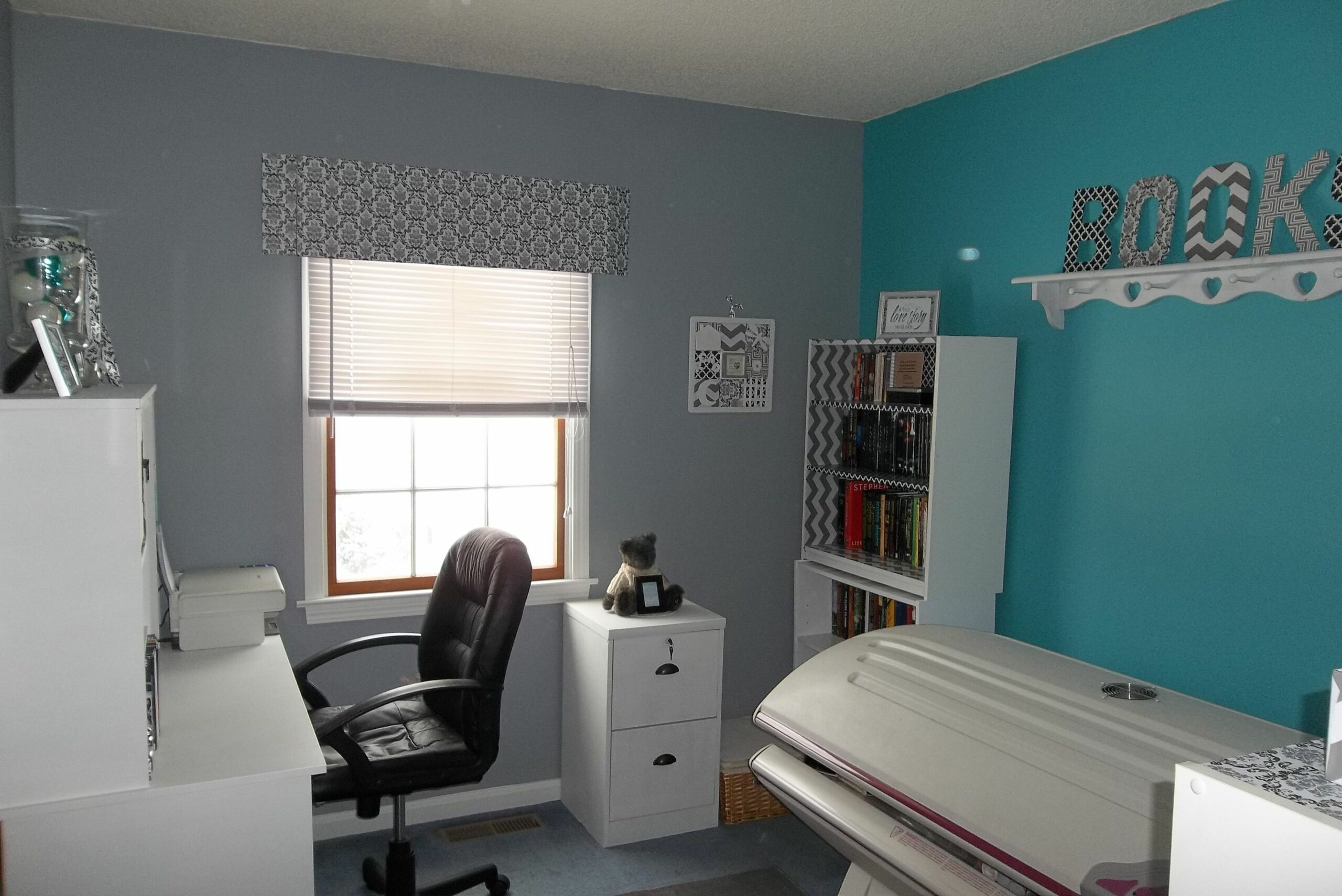 My home office redo. Gray with accent teal wall. White furniture ...