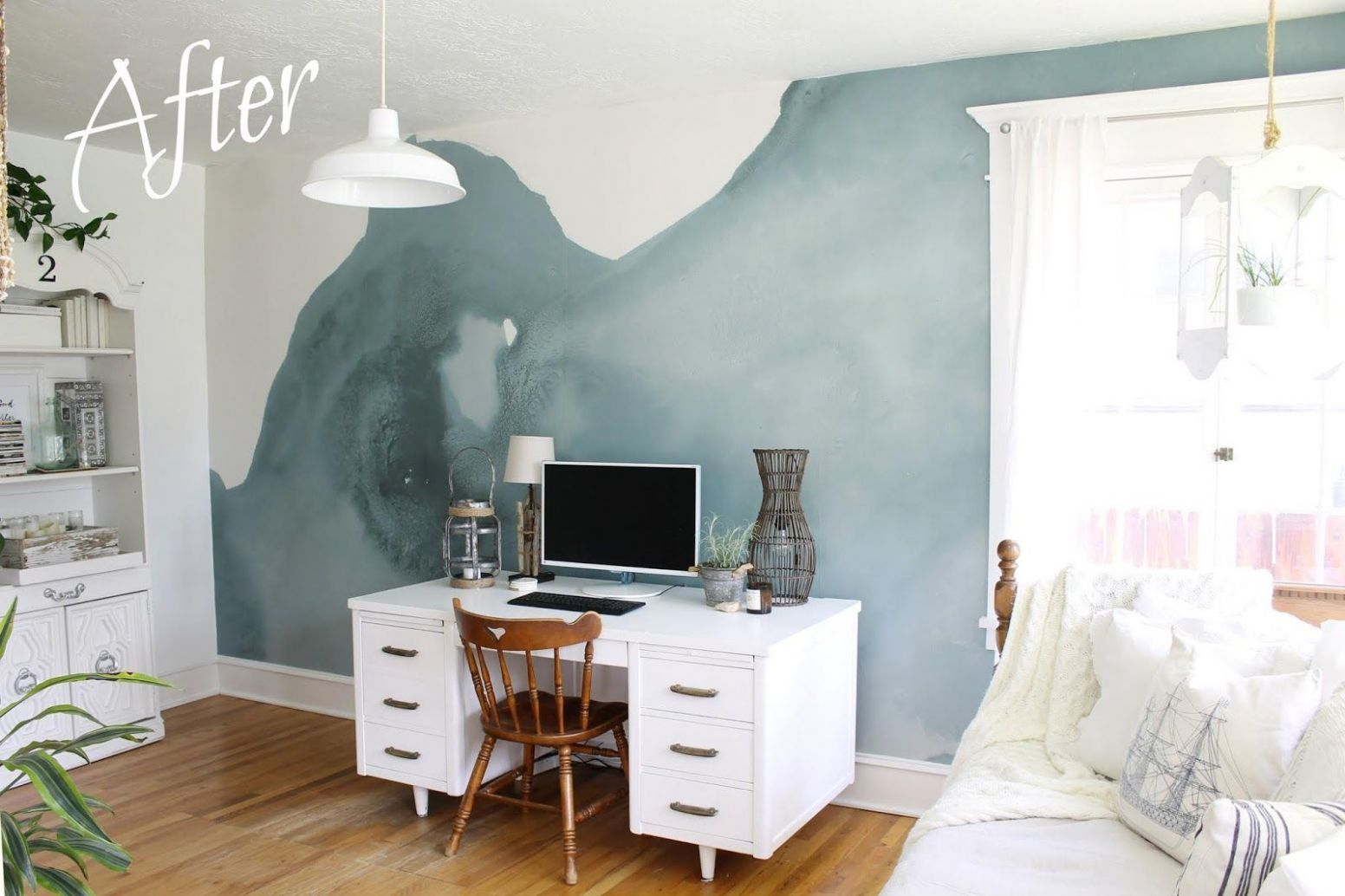 My Zen Office/Sunroom Makeover And A Mural Wallpaper | Zen office ..