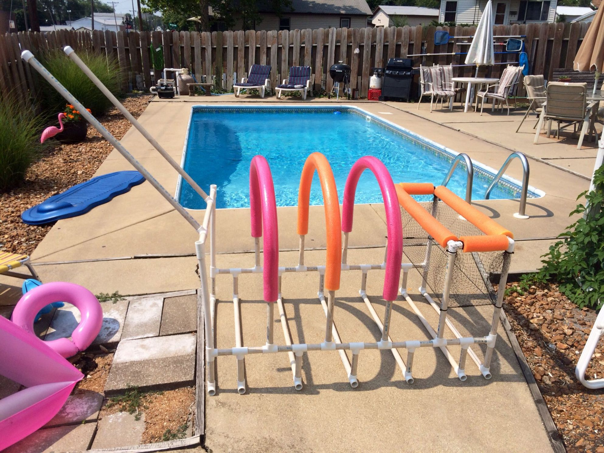 Nailed it! Poolside storage for rafts, toys, goggles, tubes, and ..