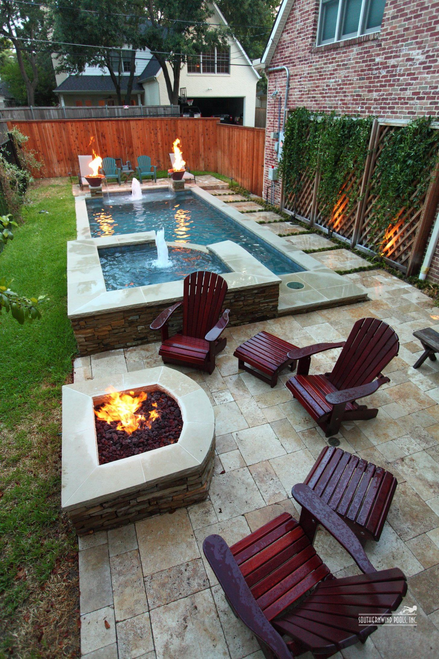 narrow pool with hot tub + firepit - great for small spaces ..