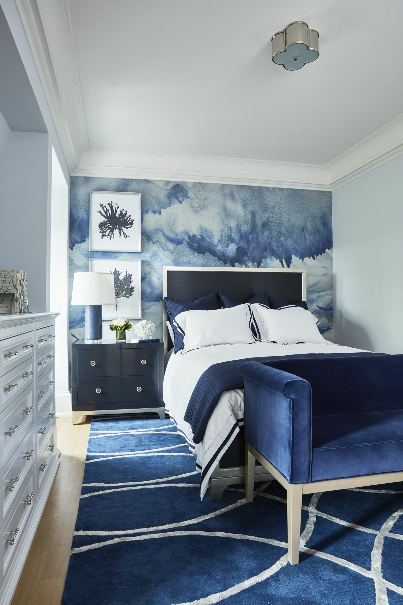 Navy blue bedroom with accent mural wallpaper. | Blue bedroom ...