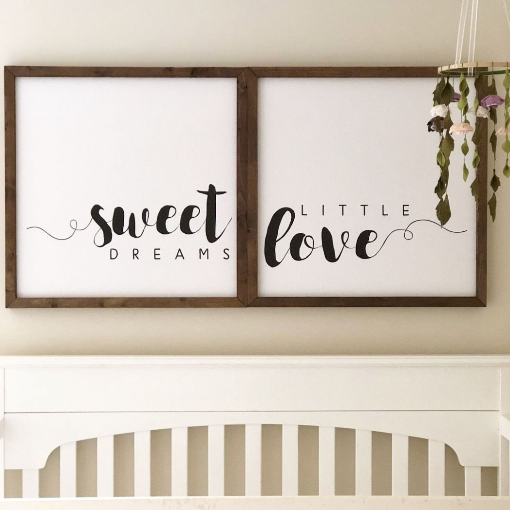 Nursery decor, small wood signs, modern farmhouse, girls nursery ..
