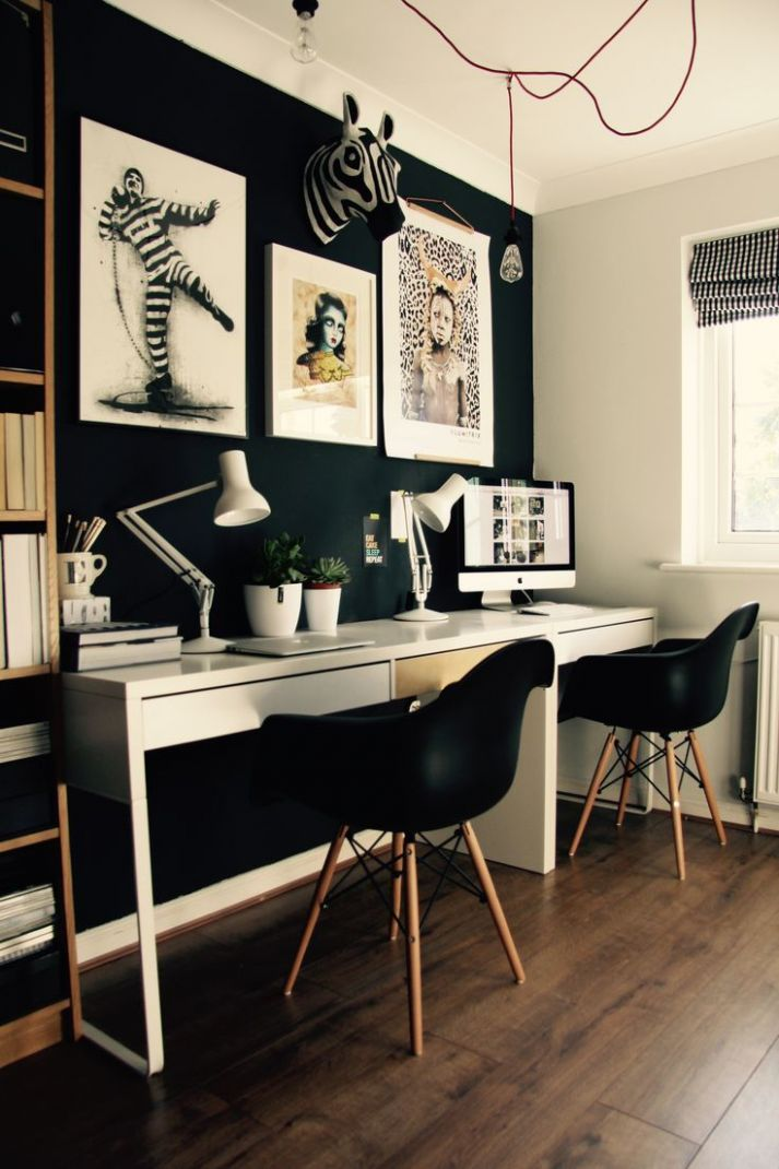 Office Decor Black Furniture Supplies Modern L-shaped Desk ...