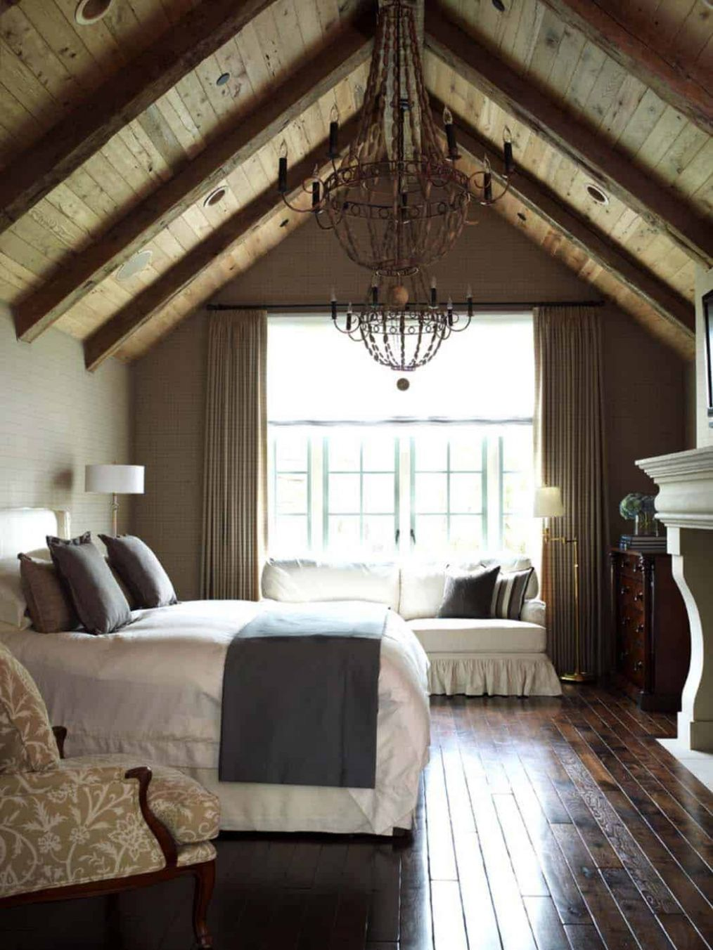 One Kindesign - bedroom ideas vaulted ceiling