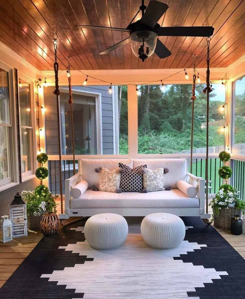 One Kindesign - front porch decor with bench