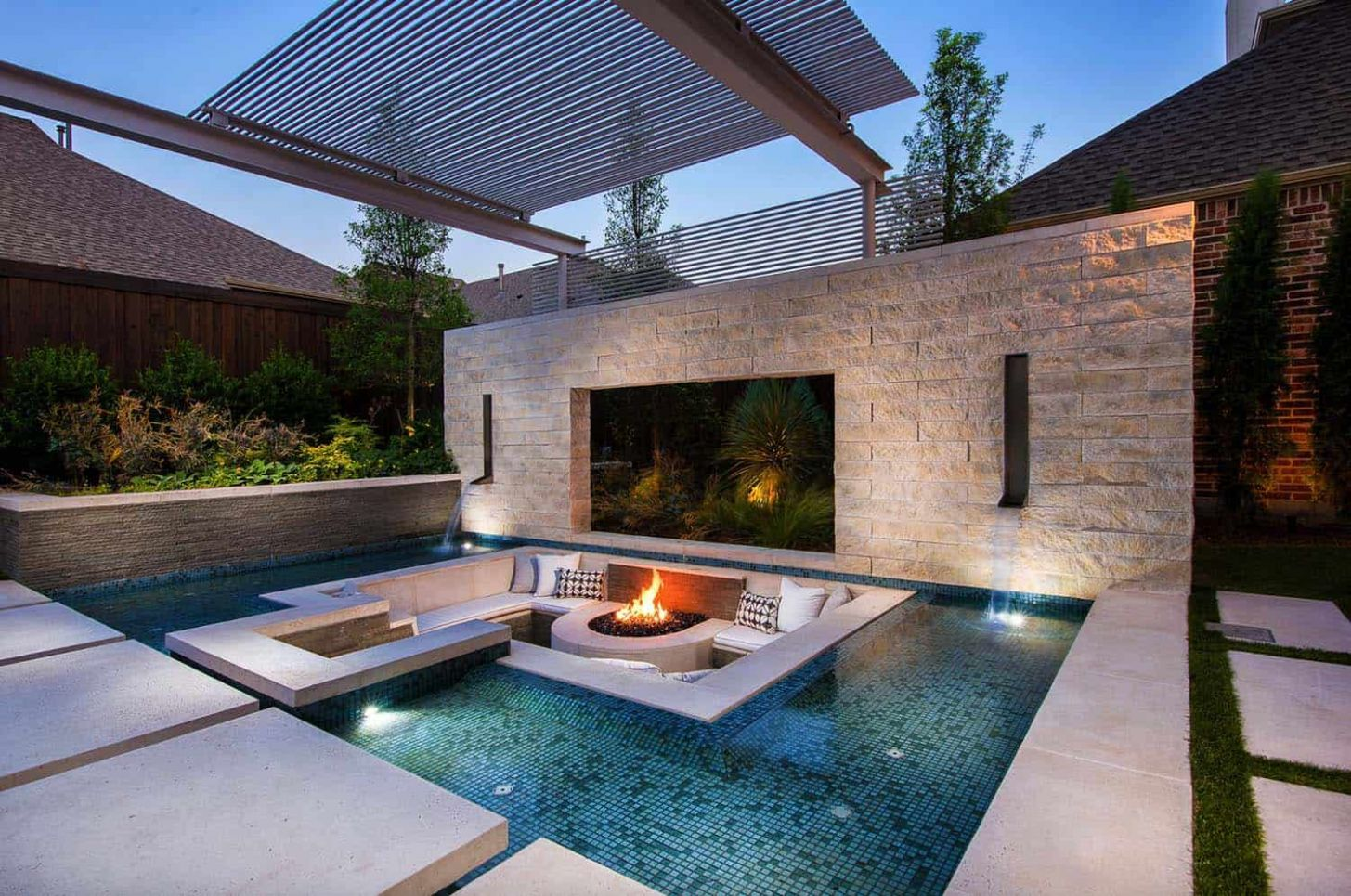 One Kindesign - pool ideas with fire pit