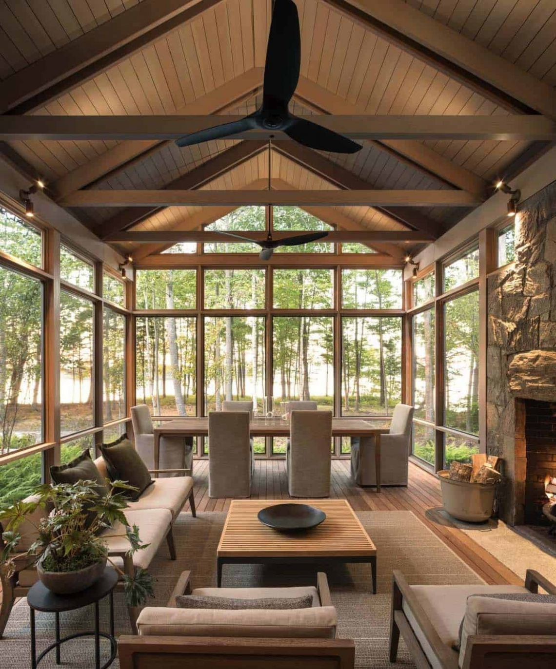 One Kindesign - sunroom ideas with tongue and groove ceiling