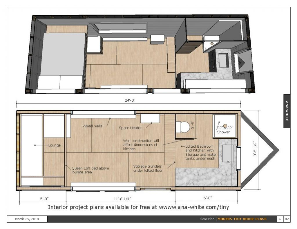 Open Concept Rustic Modern Tiny House Framing Shell - Spruc*d Market - tiny house plans free