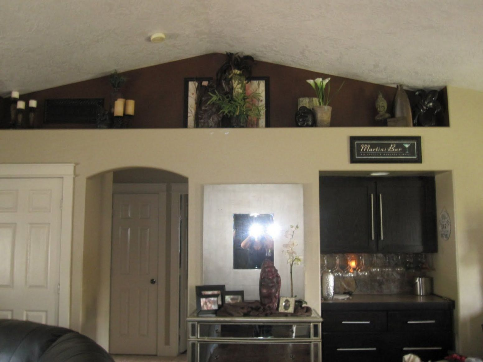 Our Home... A Little Preview | Vaulted ceiling living room, Shelf ..