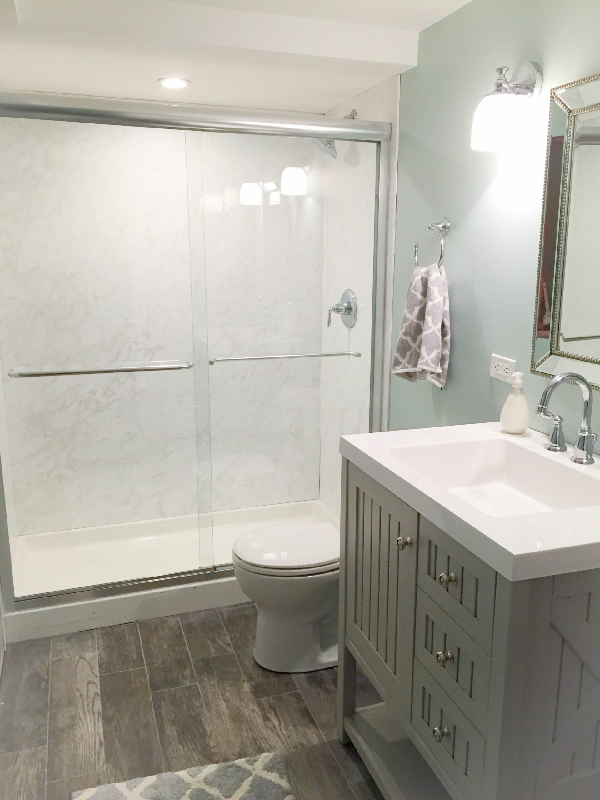 Our new basement bathroom. Vanity by Martha Stewart. Paint is ...