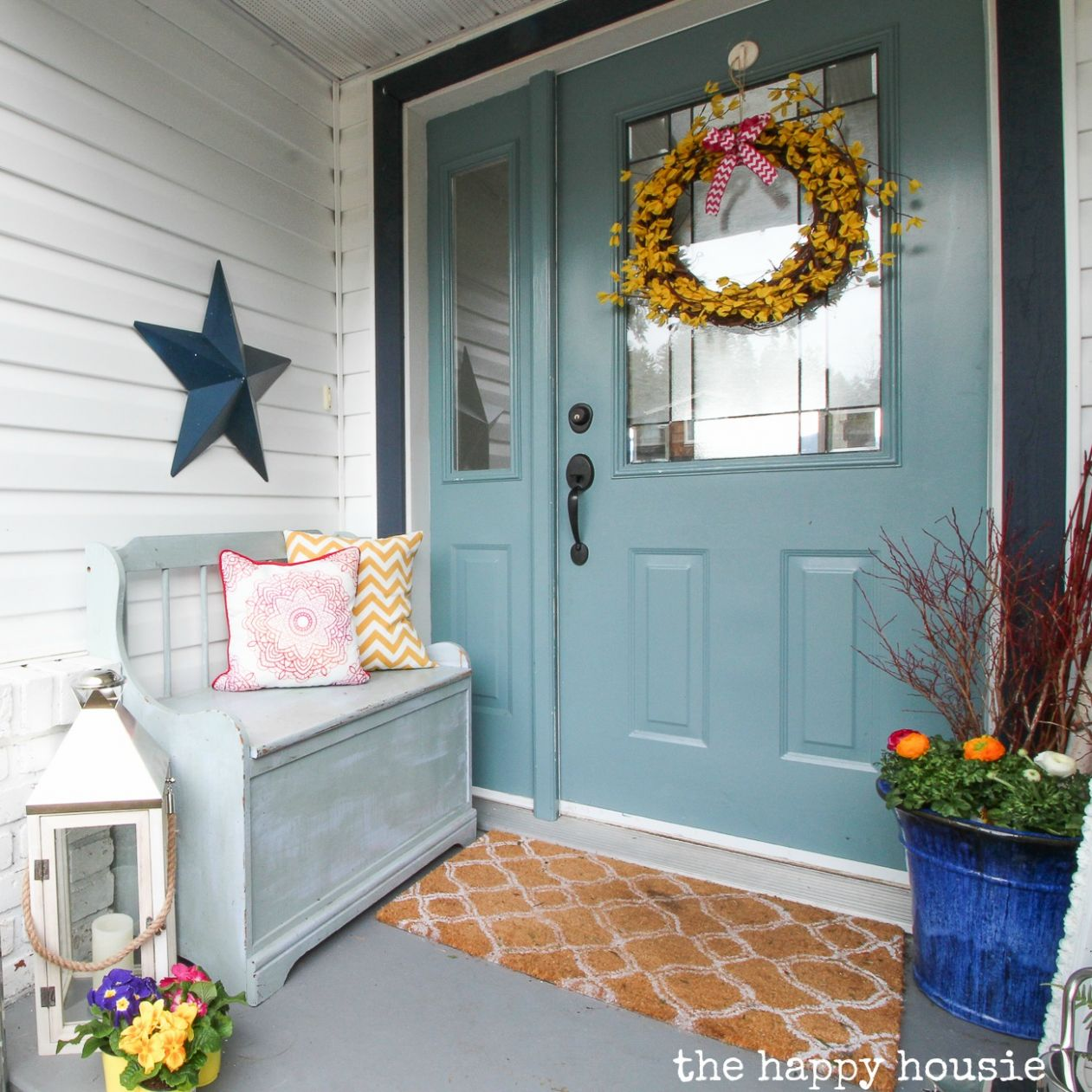 Our Spring Front Porch & Beautiful Spring Wreaths | The Happy Housie - front porch decor spring