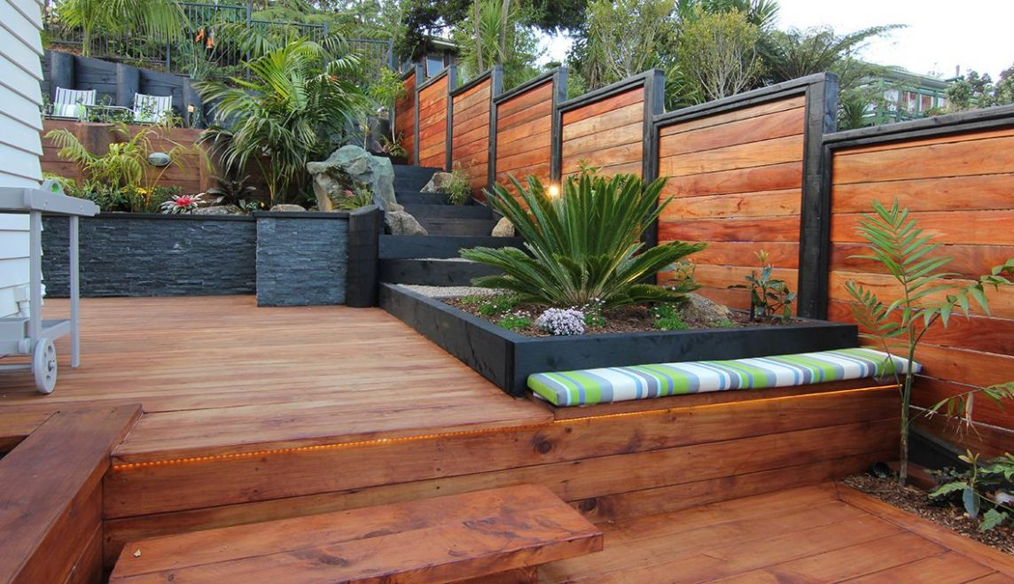 Outdoor landscaping before and after photos | Zones | Wooden deck ..