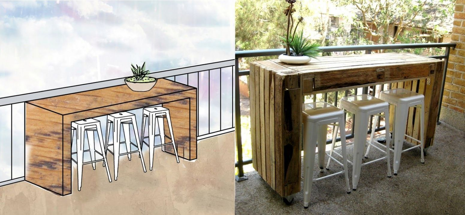 outdoor pallet bar | Custom balcony table made of pallets ...
