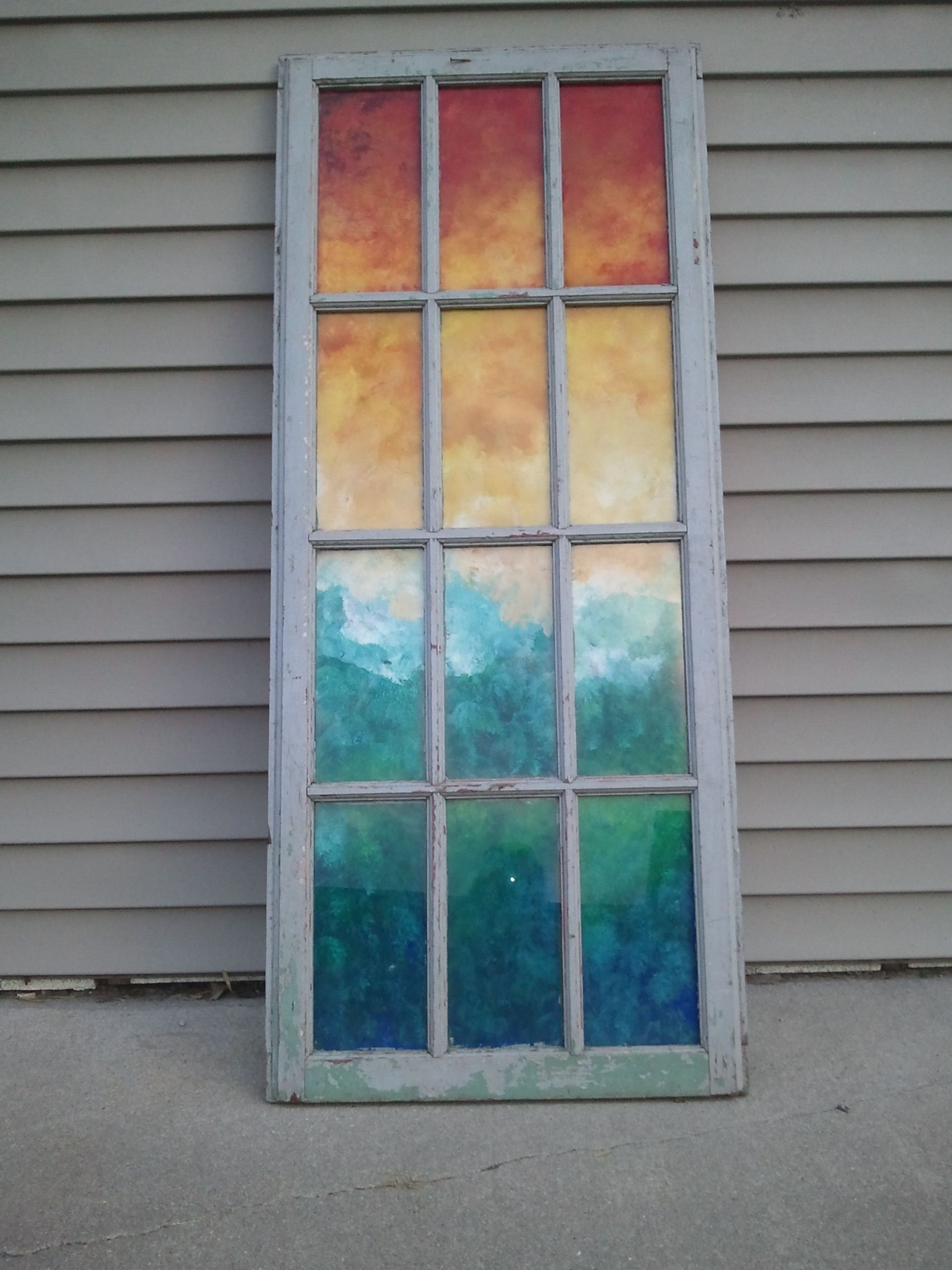 Painted abstract landscape on an old window! | Old window art ...