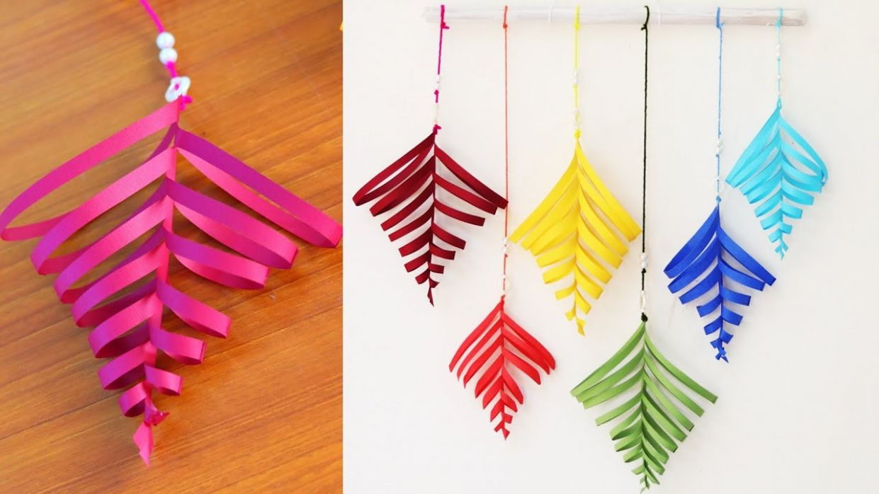 Paper leaf wall hanging tutorial - DIY Easy wall decoration ideas - wall decoration ideas with ribbons
