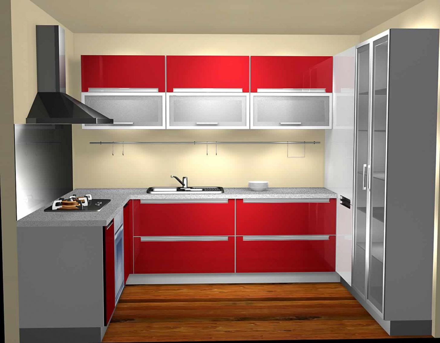 Picture of 10D Design Tiny U Shaped Kitchen with Red and White Cabinets