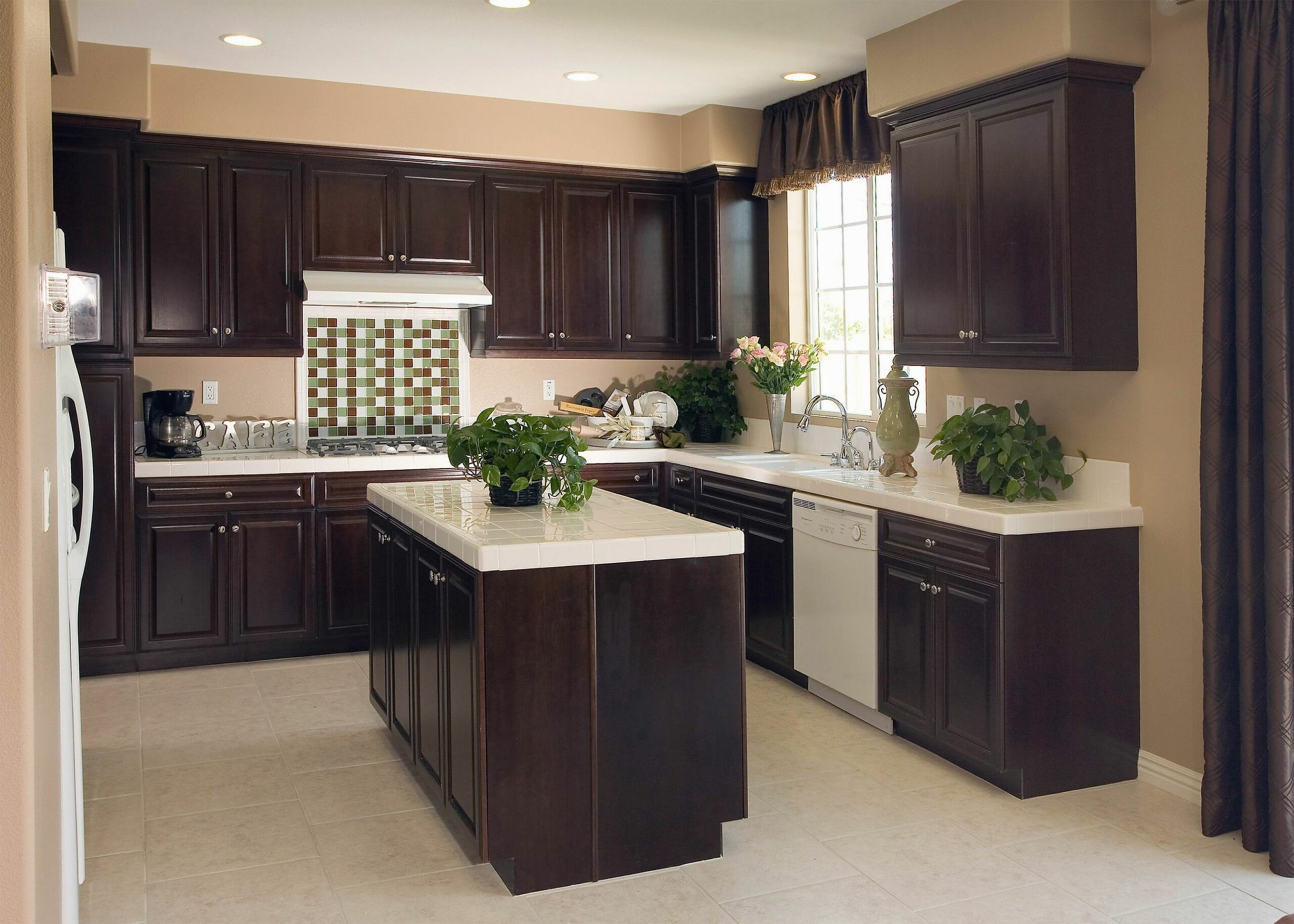Picture of Kitchen Colors with Dark Brown Cabinets L Shaped Layout - kitchen ideas light brown cabinets