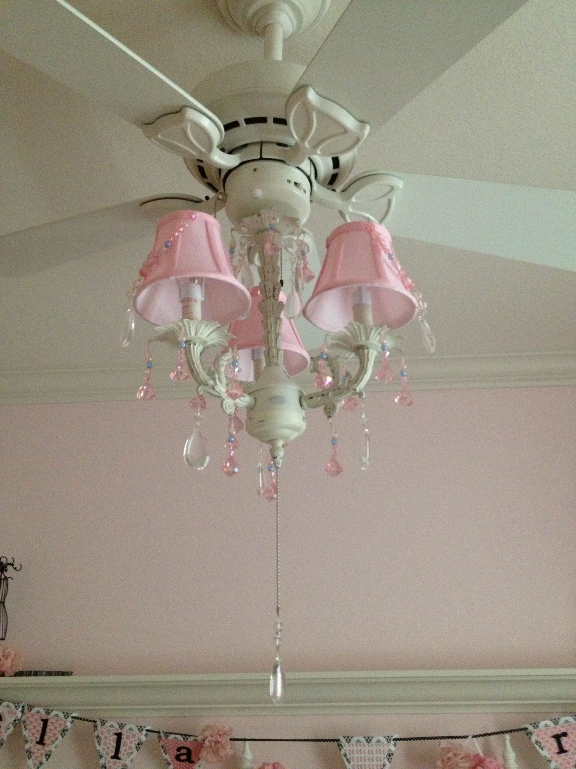 Pink Chandelier on the fan (With images) | Girls ceiling fan