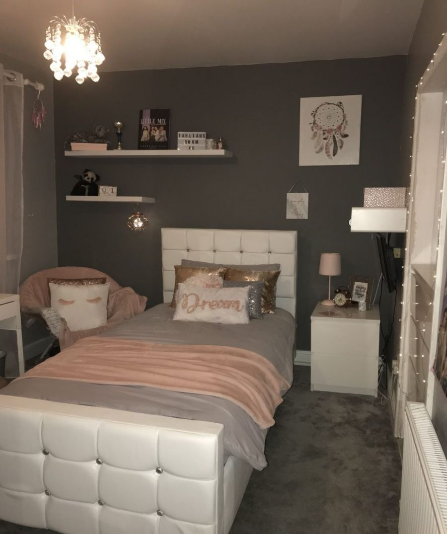 Pink White Grey Rose Gold Themed Bedroom 😘 : Home Design Ideas ...