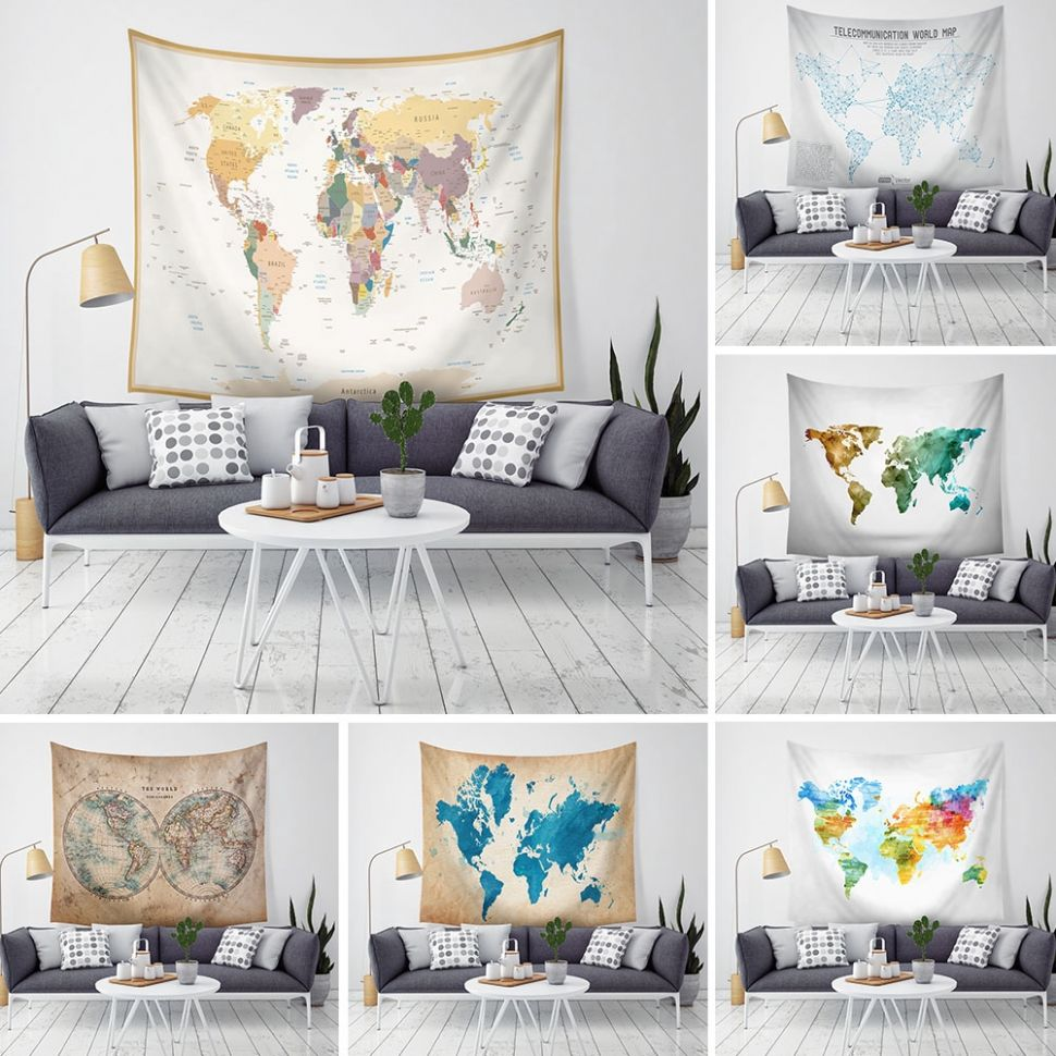 Polyester Tapestry Blanket Wall Printing Map Home Decor - home decor shopee