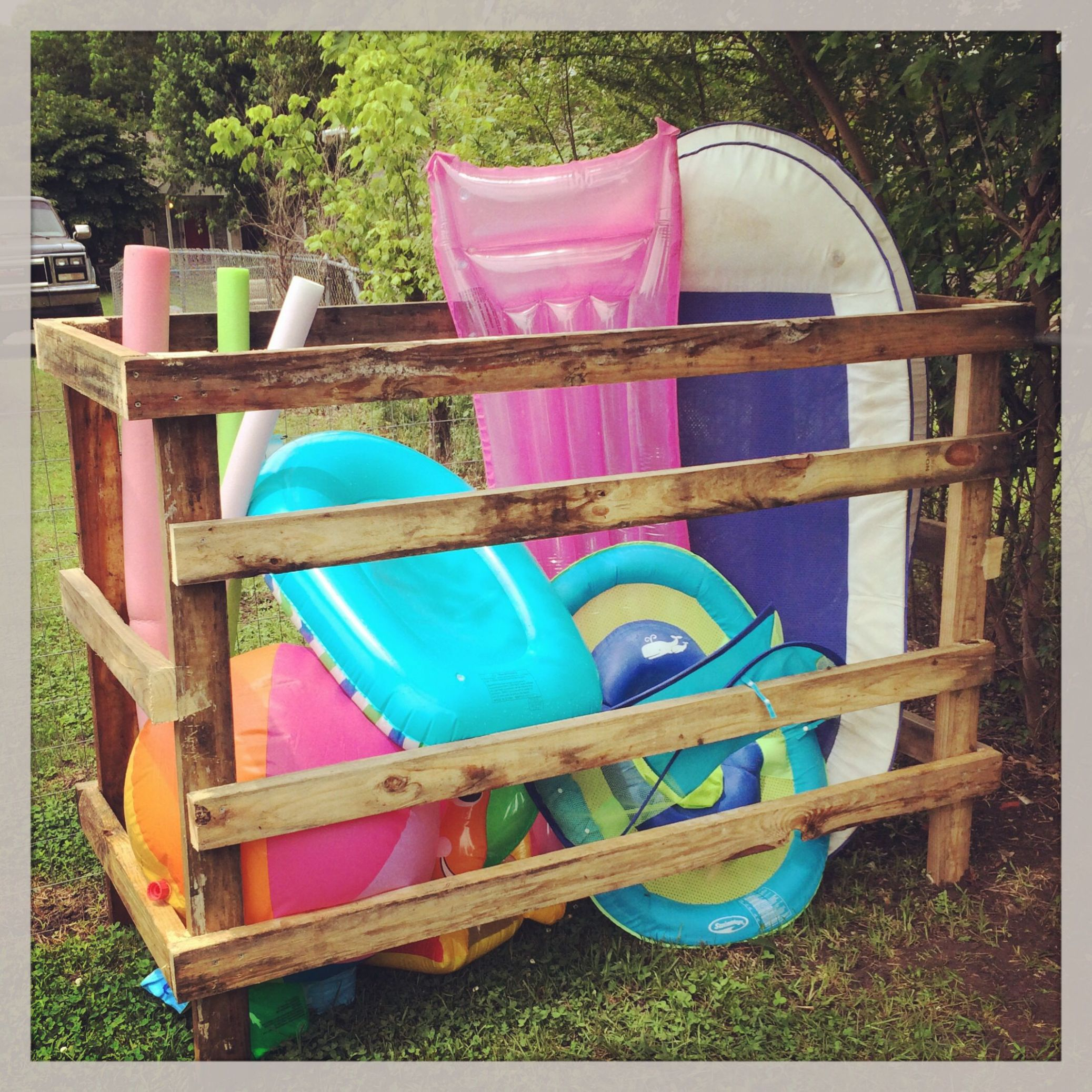 Pool float holder | Pallet pool, Pool storage, Pool float storage - pool storage ideas