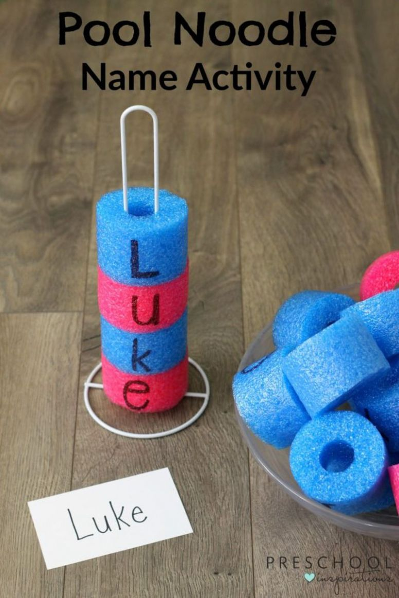 Pool Noodle Name Recognition Activity | Preschool names, Name ...