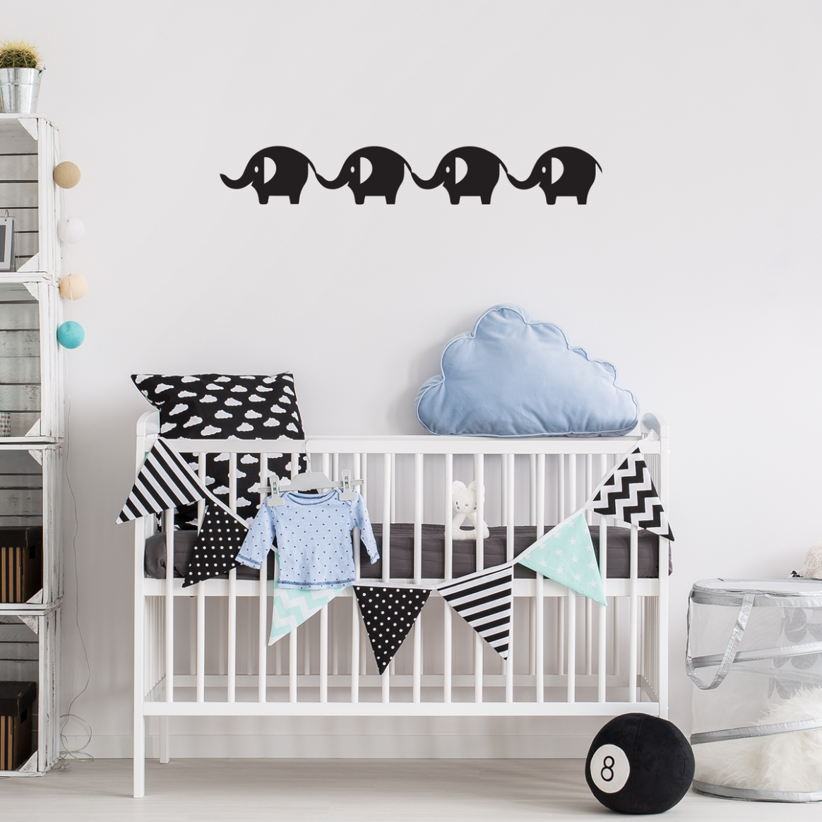 Printique Baby Elephants Vinyl Wall Art Stickers - 11