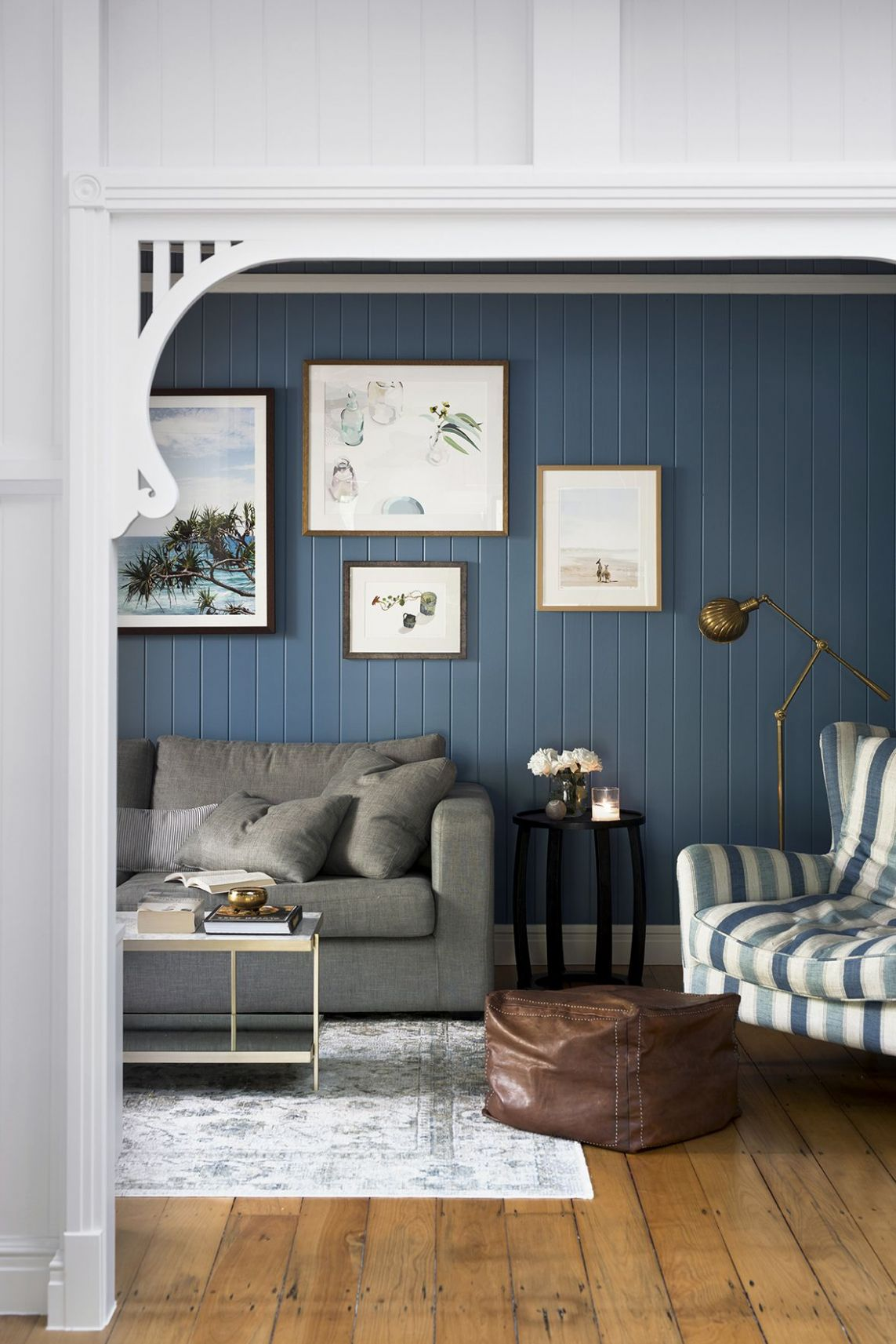 Queenslander living room with blue VJ walls. | Blue walls living ...