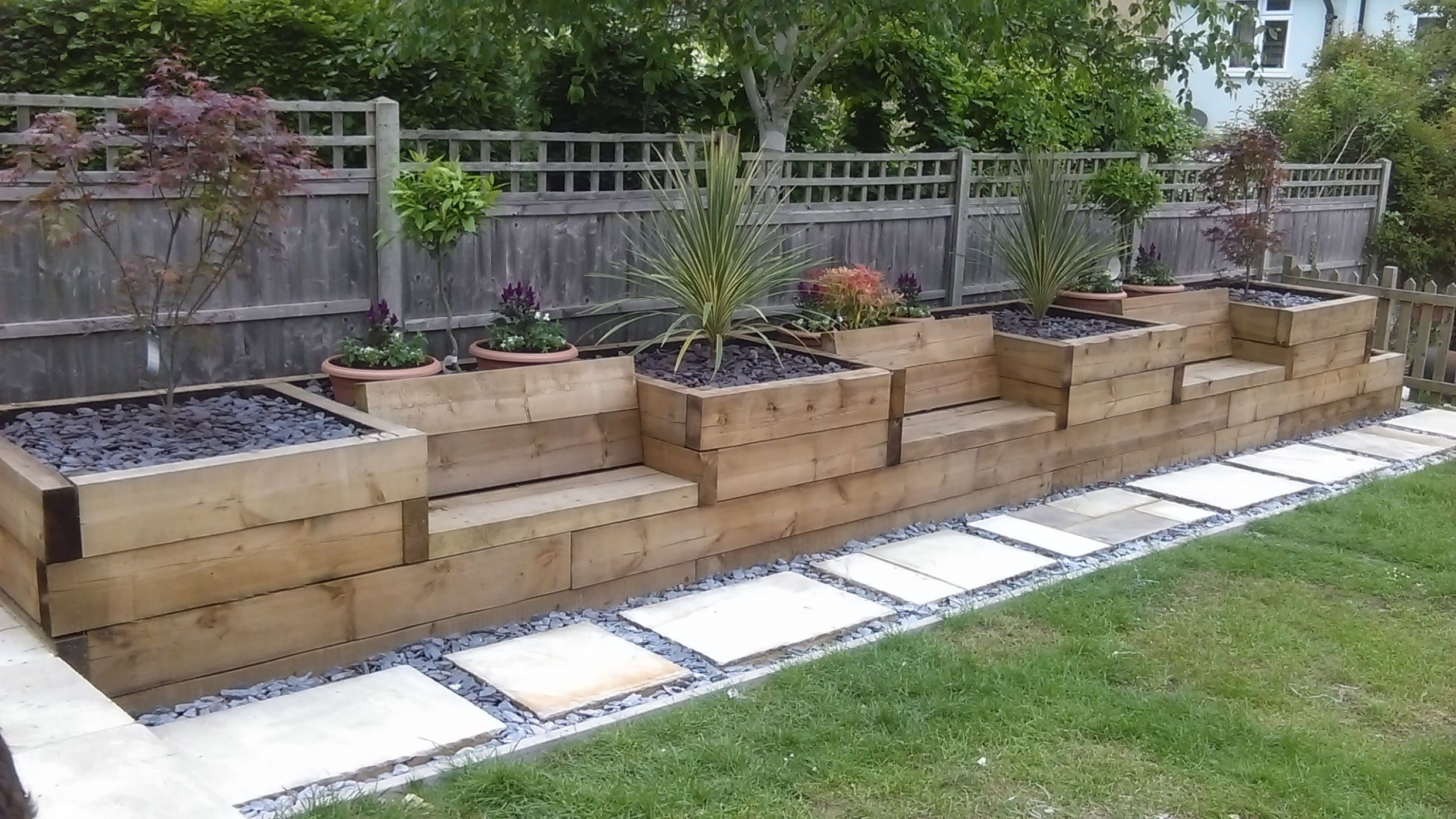 Raised beds with integrated garden seating made from railway ..