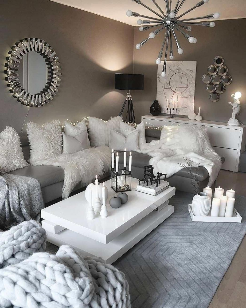 Recreate this white and grey cozy living room decor #livingroom ...