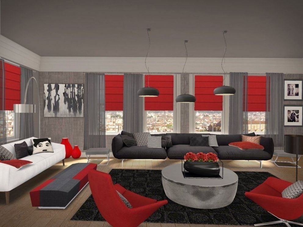 red black and grey living room ideas: red black and gray living ..