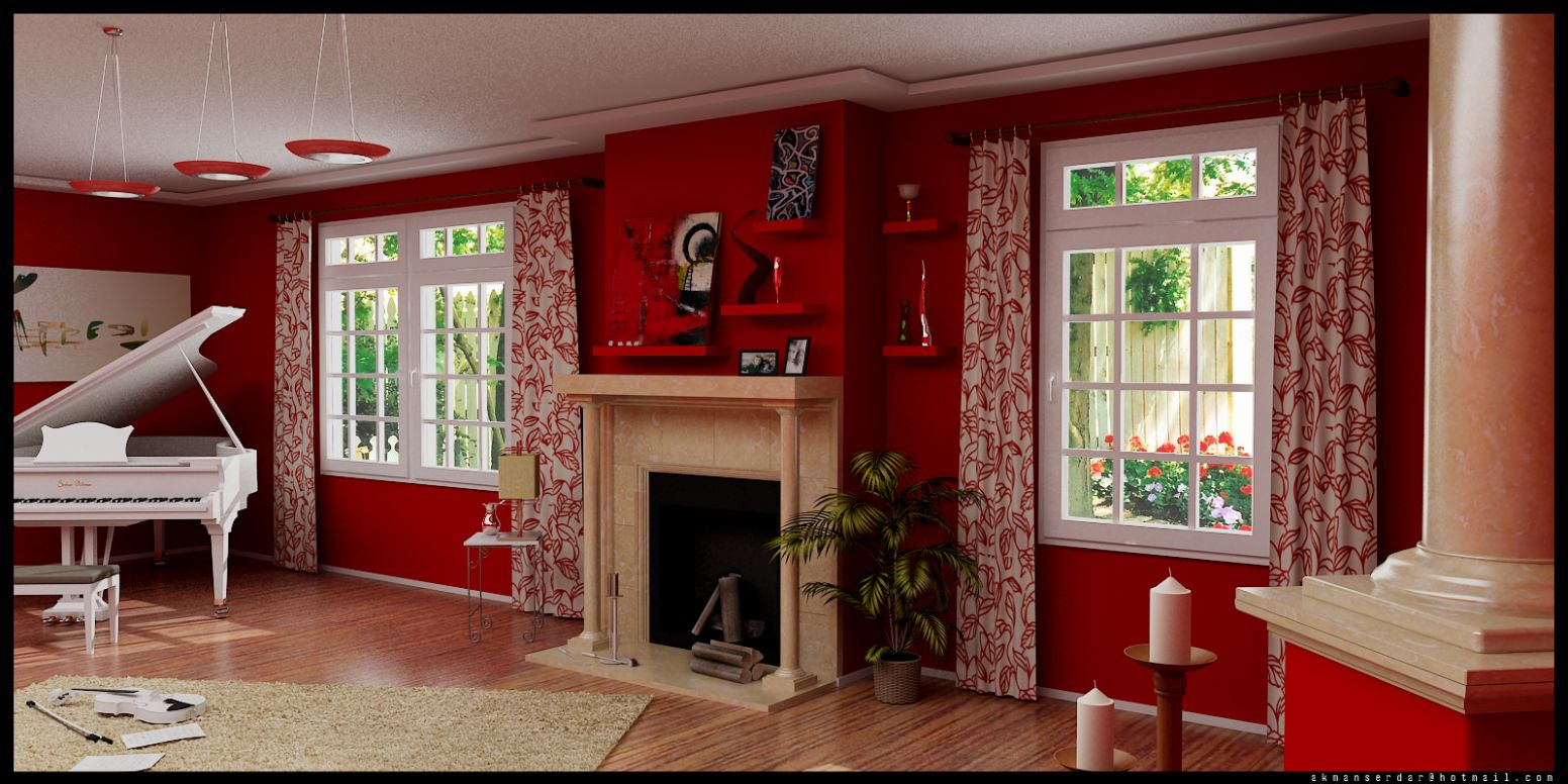 red living room | Interior Design Ideas - living room ideas red wall