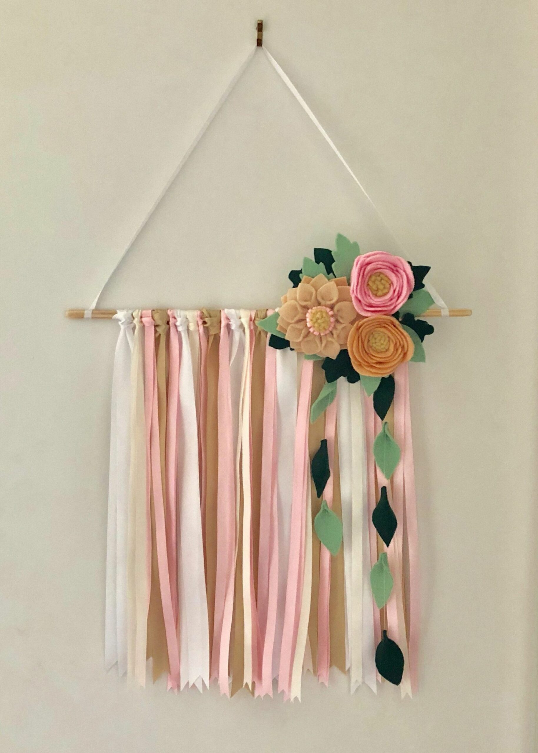 Ribbon and felt flower wall hanging. White, gold, pink and ivory ..