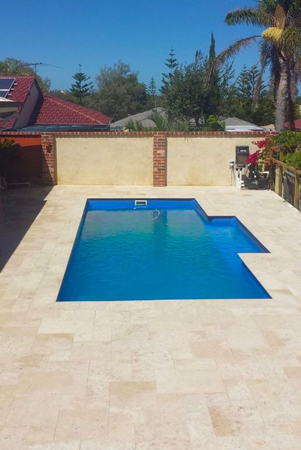 Roma travertine french pattern pavers & squarenose capping | Pool ..