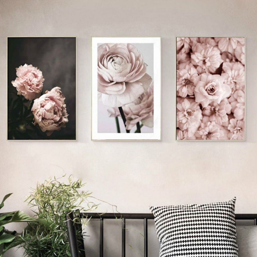 Romantic Modern Pink Rose Flowers Canvas Paintings Posters for Bedroom Home  Decor - Valentine's Gift Wall Art Picture
